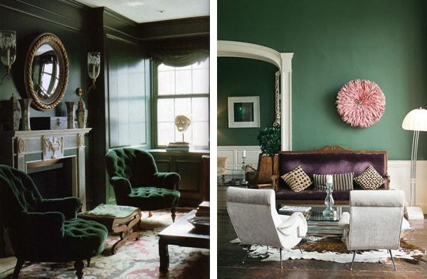 Темно-зеленый в интерьере: акцент или основной цвет
