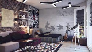 Серые стены с эффектом металлик